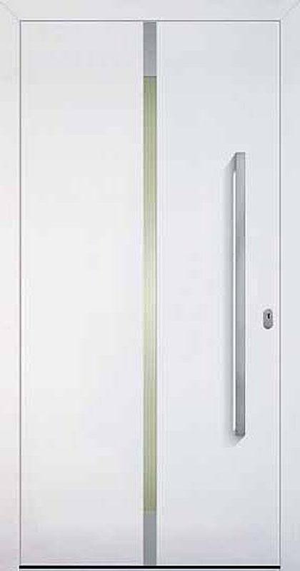 Kunststoff weiß, Edelstahlrahmen beidseitig, Sandstrahlmotiv A1: Fläche Klarglas, Quadrate mattiert, Edelstahl