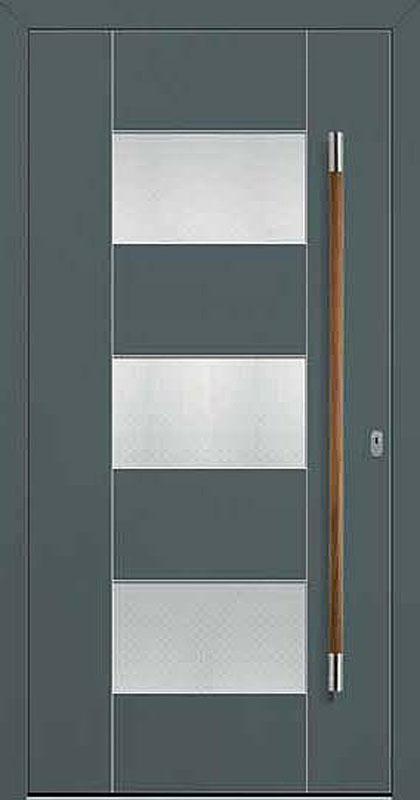 Kunststoff, Lack Basaltgrau Edelstahlintarsien und Nuten außen, Ornament Madras Pave weiß, mit integriertem Griff, Jatobaholz/Edelstahl